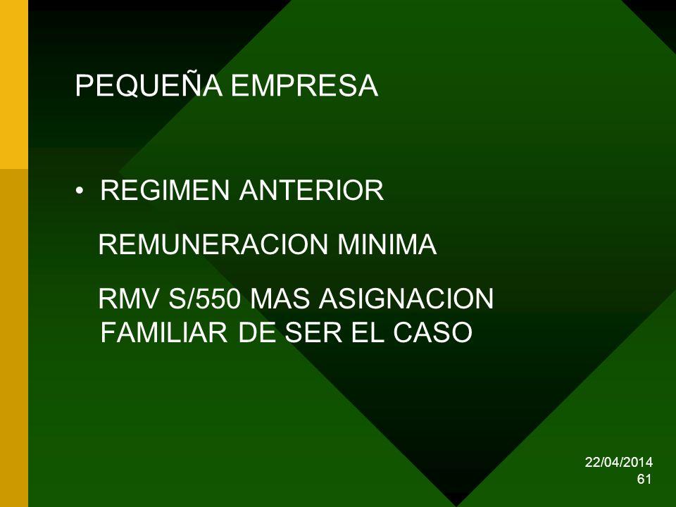 PEQUEÑA EMPRESA REGIMEN ANTERIOR REMUNERACION MINIMA