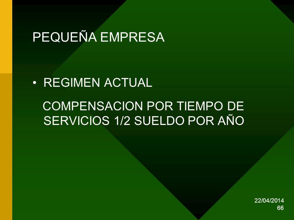 PEQUEÑA EMPRESA REGIMEN ACTUAL