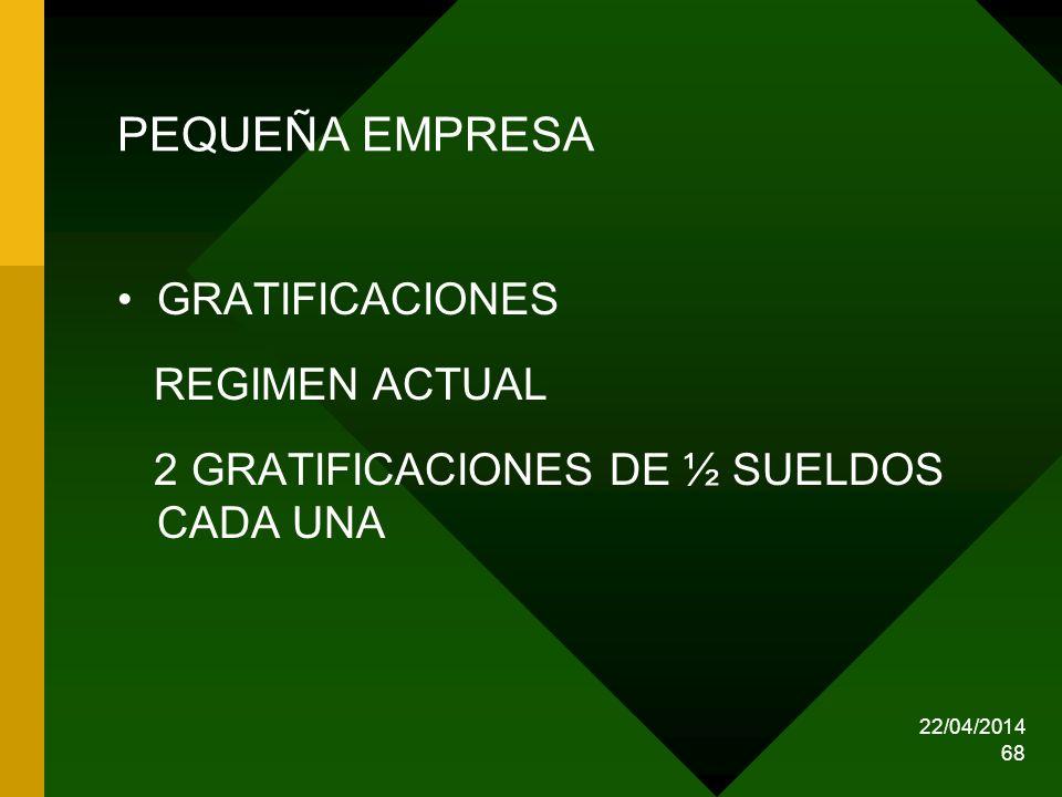 PEQUEÑA EMPRESA GRATIFICACIONES REGIMEN ACTUAL