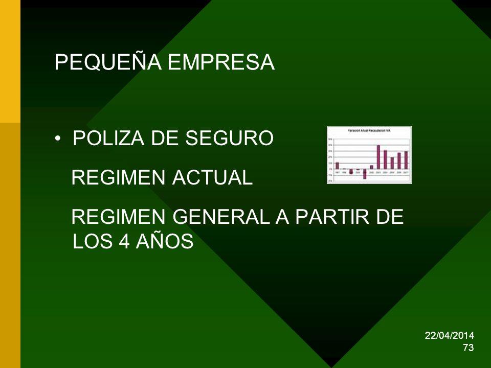 PEQUEÑA EMPRESA POLIZA DE SEGURO REGIMEN ACTUAL