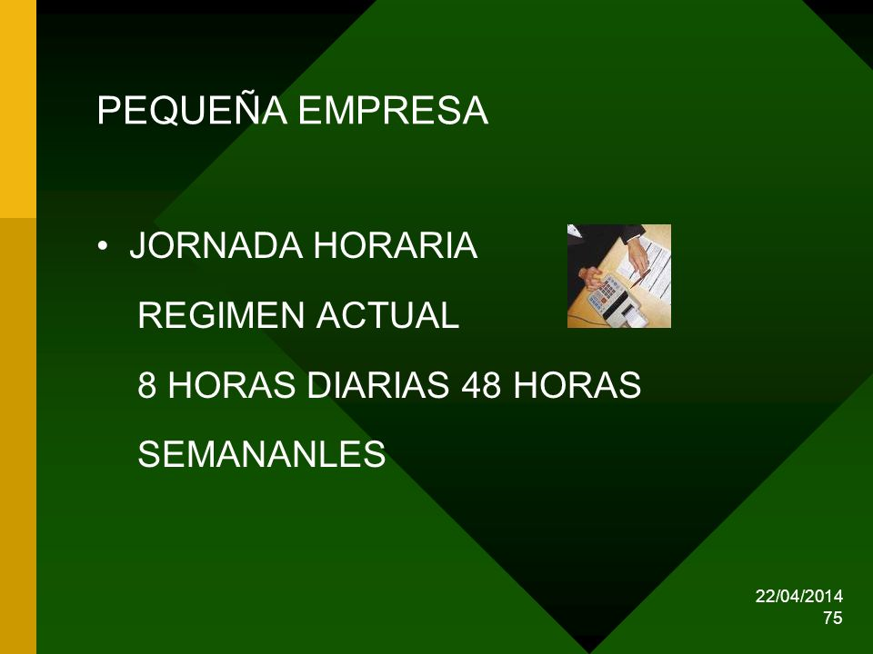 PEQUEÑA EMPRESA JORNADA HORARIA REGIMEN ACTUAL