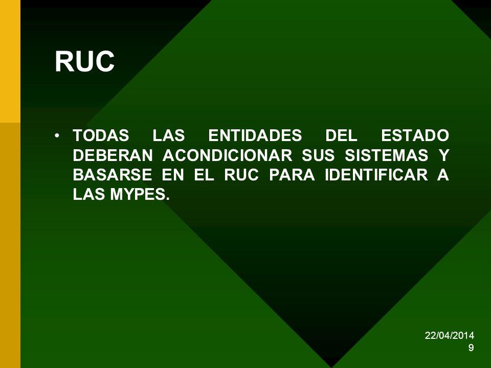 RUC TODAS LAS ENTIDADES DEL ESTADO DEBERAN ACONDICIONAR SUS SISTEMAS Y BASARSE EN EL RUC PARA IDENTIFICAR A LAS MYPES.