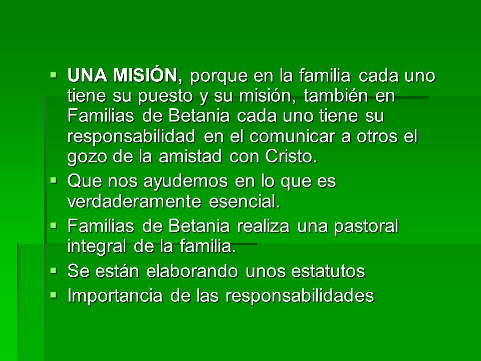 UNA MISIÓN, porque en la familia cada uno tiene su puesto y su misión, también en Familias de Betania cada uno tiene su responsabilidad en el comunicar a otros el gozo de la amistad con Cristo.