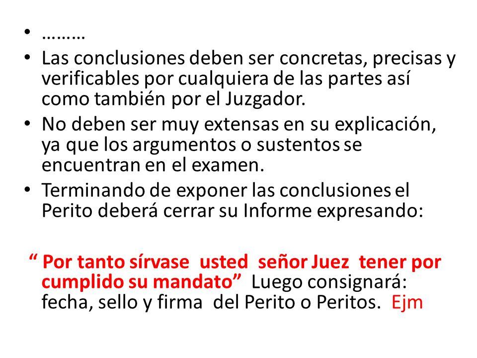 ……… Las conclusiones deben ser concretas, precisas y verificables por cualquiera de las partes así como también por el Juzgador.