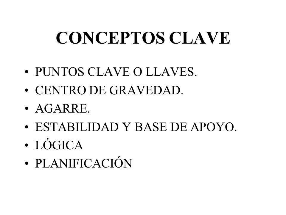 CONCEPTOS CLAVE PUNTOS CLAVE O LLAVES. CENTRO DE GRAVEDAD. AGARRE.