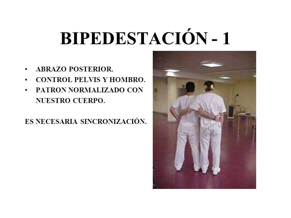 BIPEDESTACIÓN - 1 ABRAZO POSTERIOR. CONTROL PELVIS Y HOMBRO.