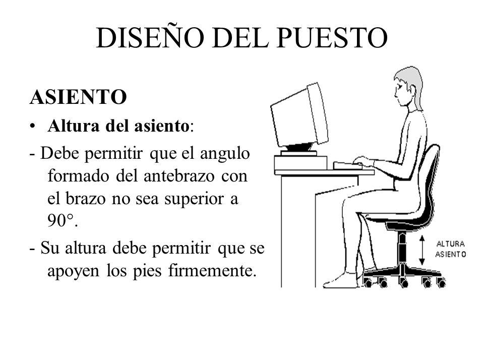 DISEÑO DEL PUESTO ASIENTO Altura del asiento: