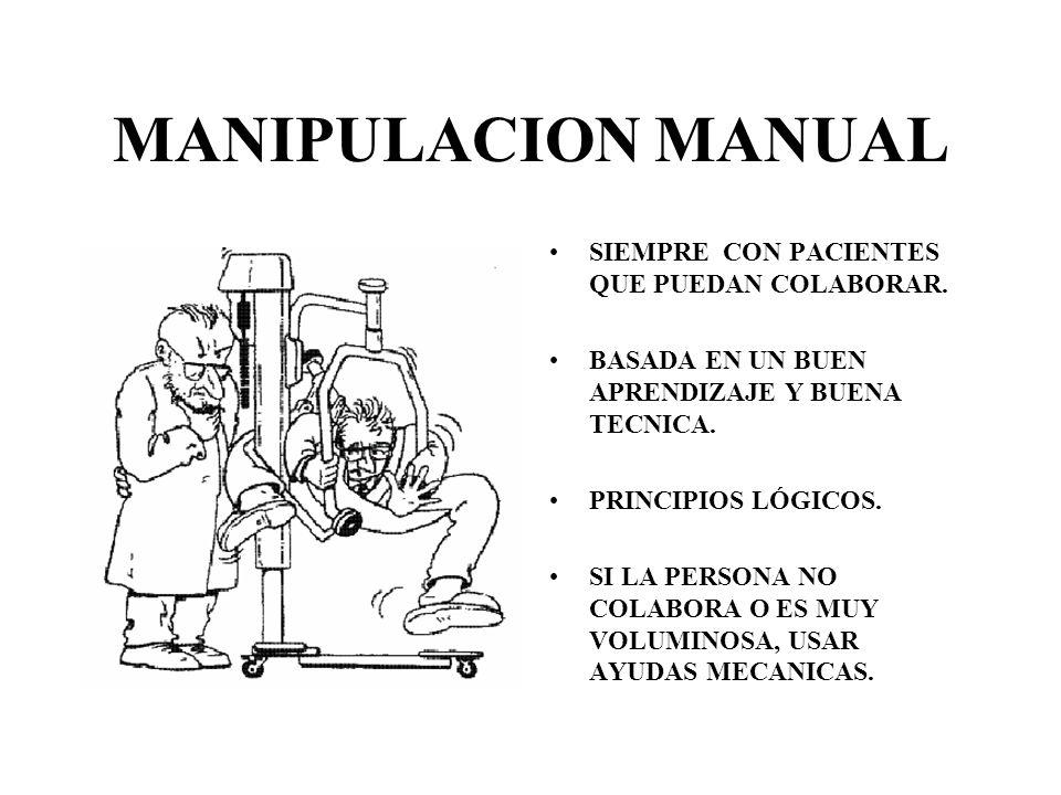 MANIPULACION MANUAL SIEMPRE CON PACIENTES QUE PUEDAN COLABORAR.