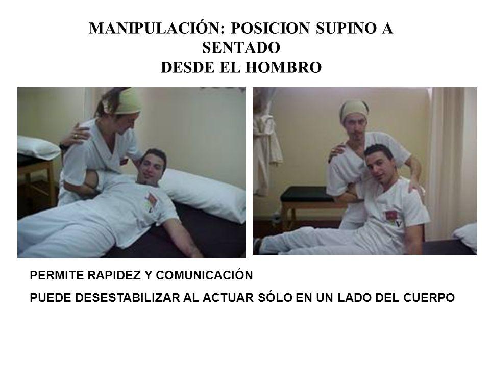 MANIPULACIÓN: POSICION SUPINO A SENTADO DESDE EL HOMBRO