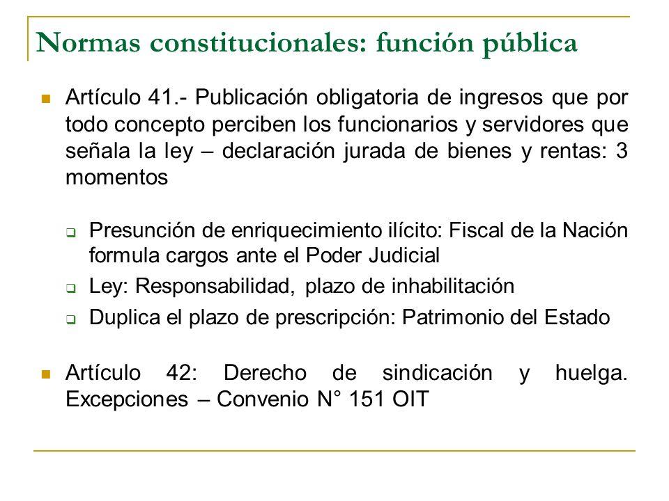 Normas constitucionales: función pública