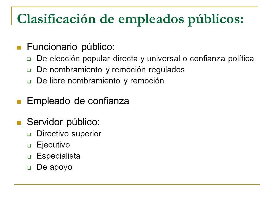 Clasificación de empleados públicos: