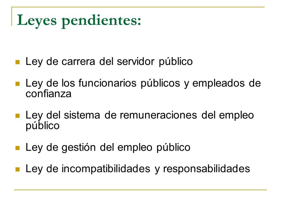 Leyes pendientes: Ley de carrera del servidor público