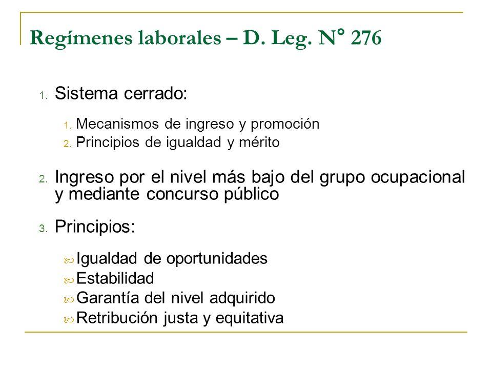 Regímenes laborales – D. Leg. N° 276