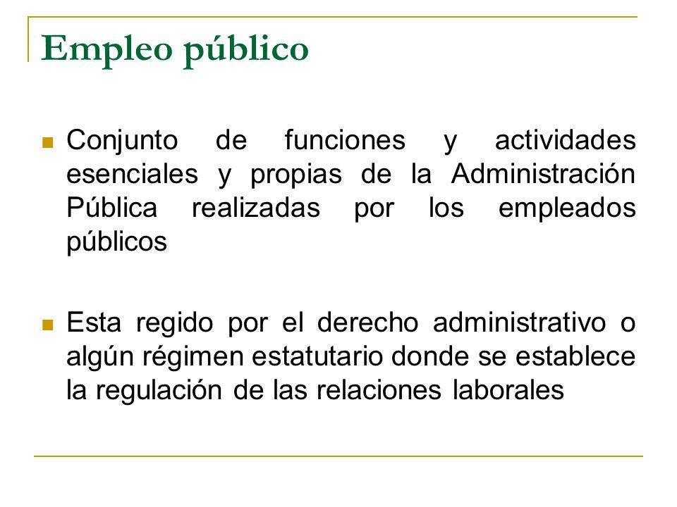 Empleo público Conjunto de funciones y actividades esenciales y propias de la Administración Pública realizadas por los empleados públicos.