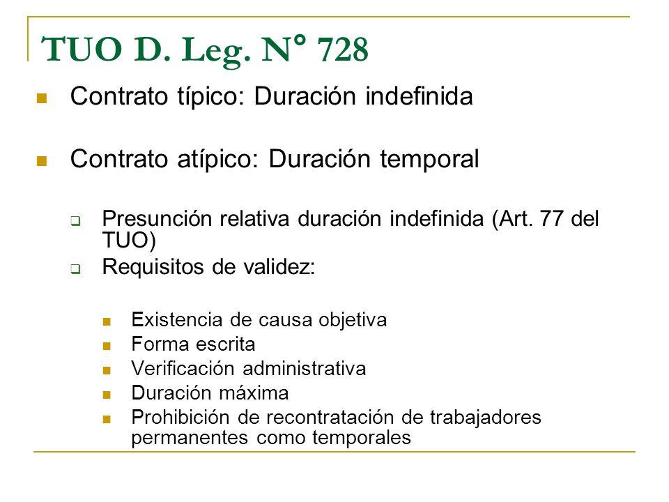 TUO D. Leg. N° 728 Contrato típico: Duración indefinida