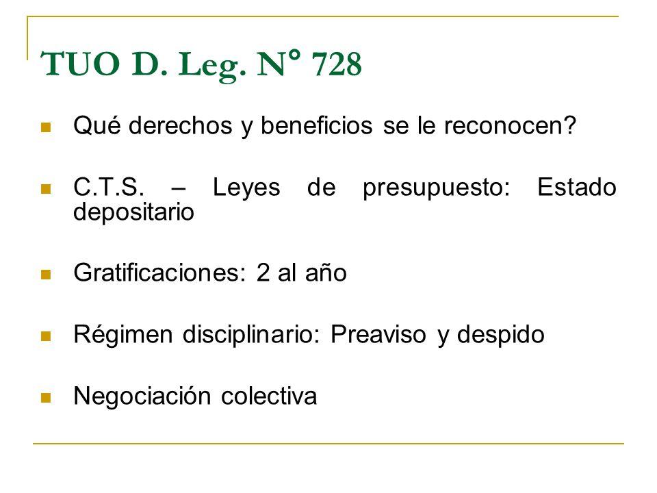 TUO D. Leg. N° 728 Qué derechos y beneficios se le reconocen