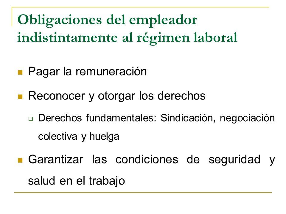 Obligaciones del empleador indistintamente al régimen laboral