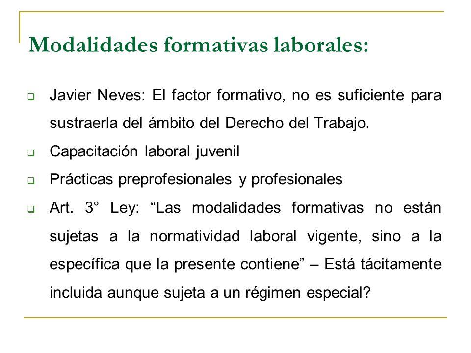 Modalidades formativas laborales: