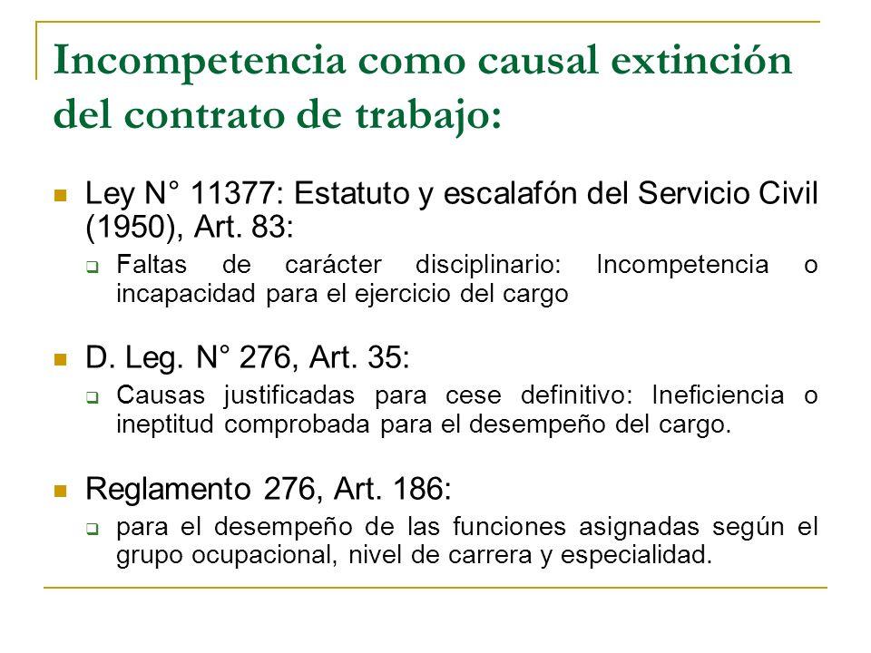 Incompetencia como causal extinción del contrato de trabajo: