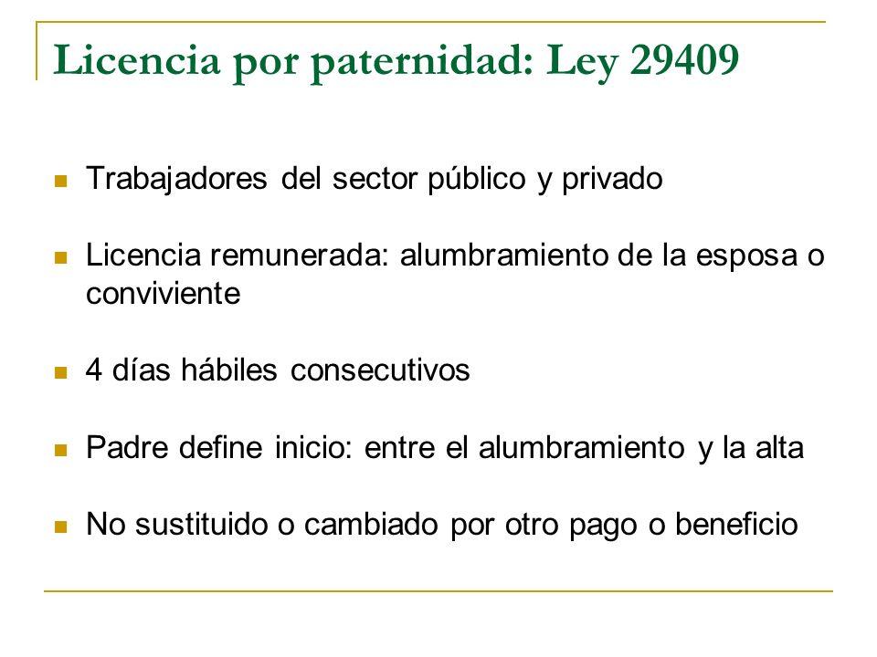 Licencia por paternidad: Ley 29409