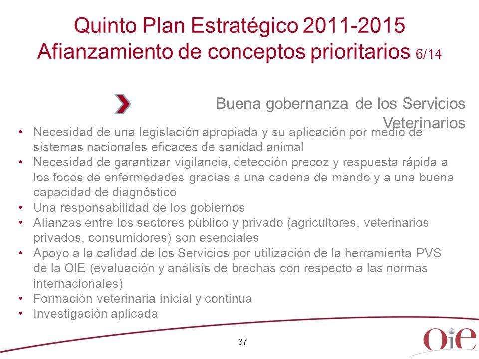 Quinto Plan Estratégico 2011-2015 Afianzamiento de conceptos prioritarios 6/14