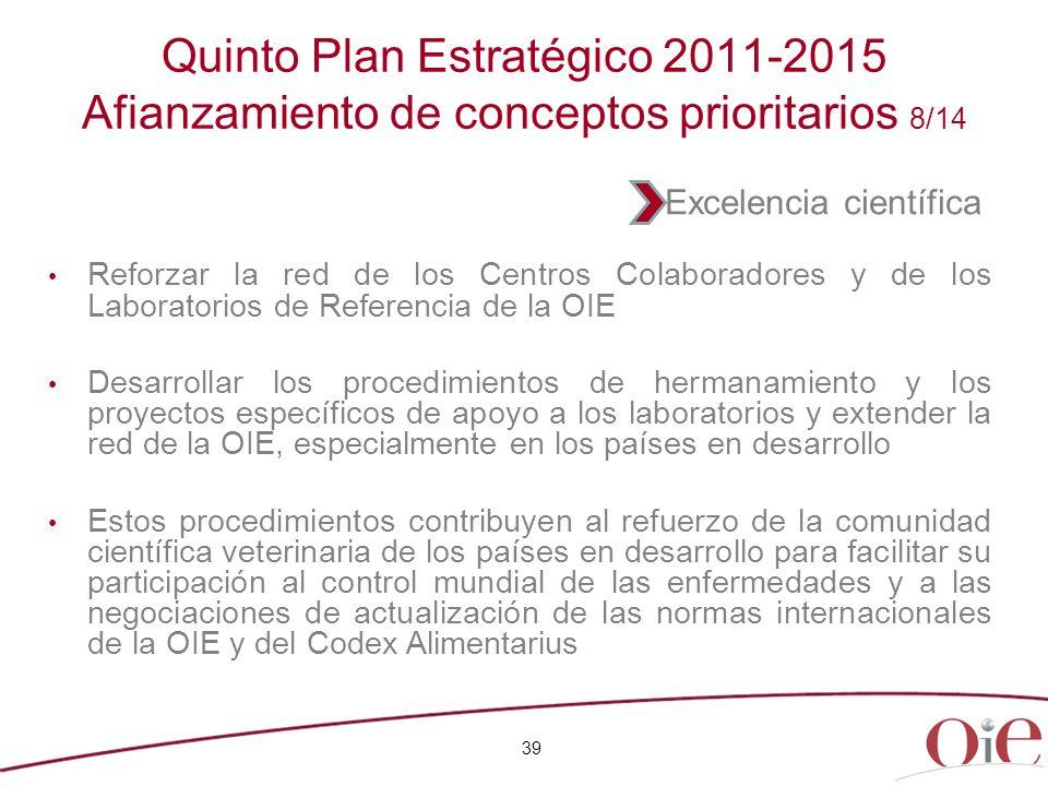 Quinto Plan Estratégico 2011-2015 Afianzamiento de conceptos prioritarios 8/14