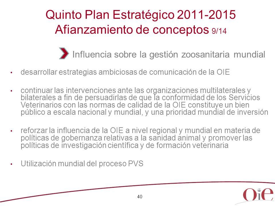 Quinto Plan Estratégico 2011-2015 Afianzamiento de conceptos 9/14