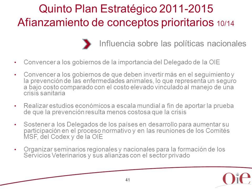 Quinto Plan Estratégico 2011-2015 Afianzamiento de conceptos prioritarios 10/14