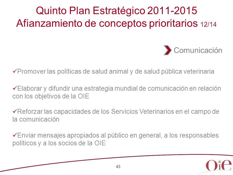 Quinto Plan Estratégico 2011-2015 Afianzamiento de conceptos prioritarios 12/14