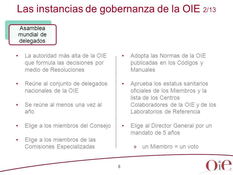 Las instancias de gobernanza de la OIE 2/13