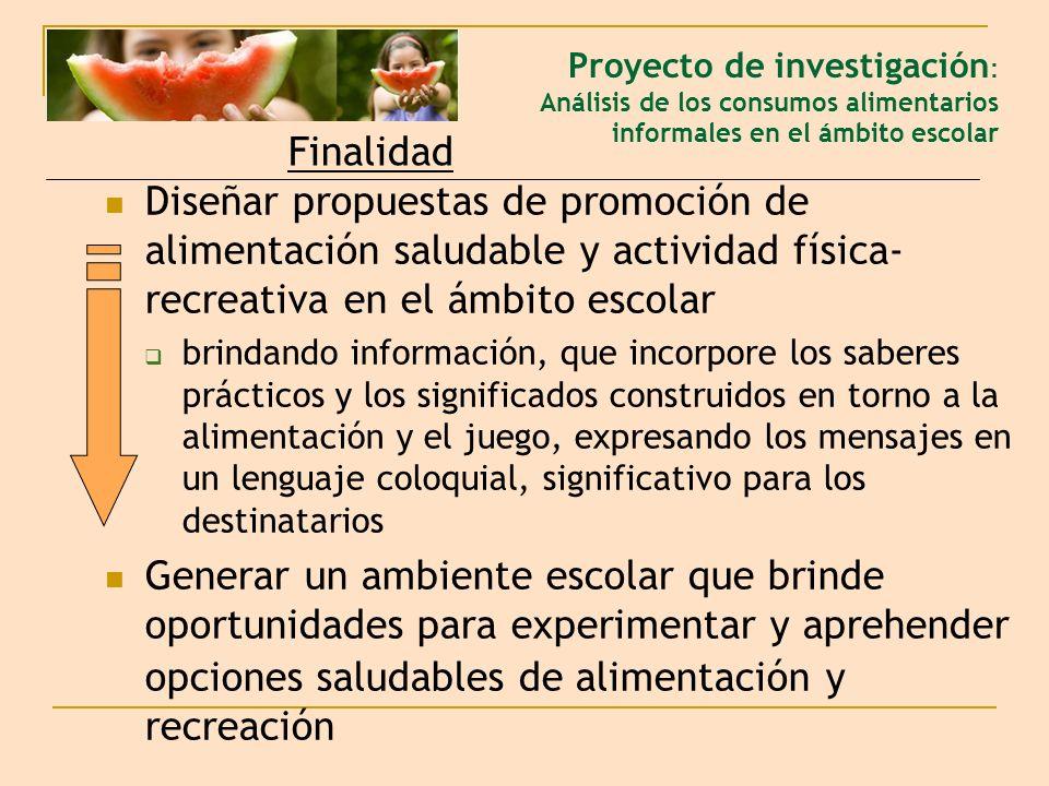 Proyecto de investigación: Análisis de los consumos alimentarios informales en el ámbito escolar
