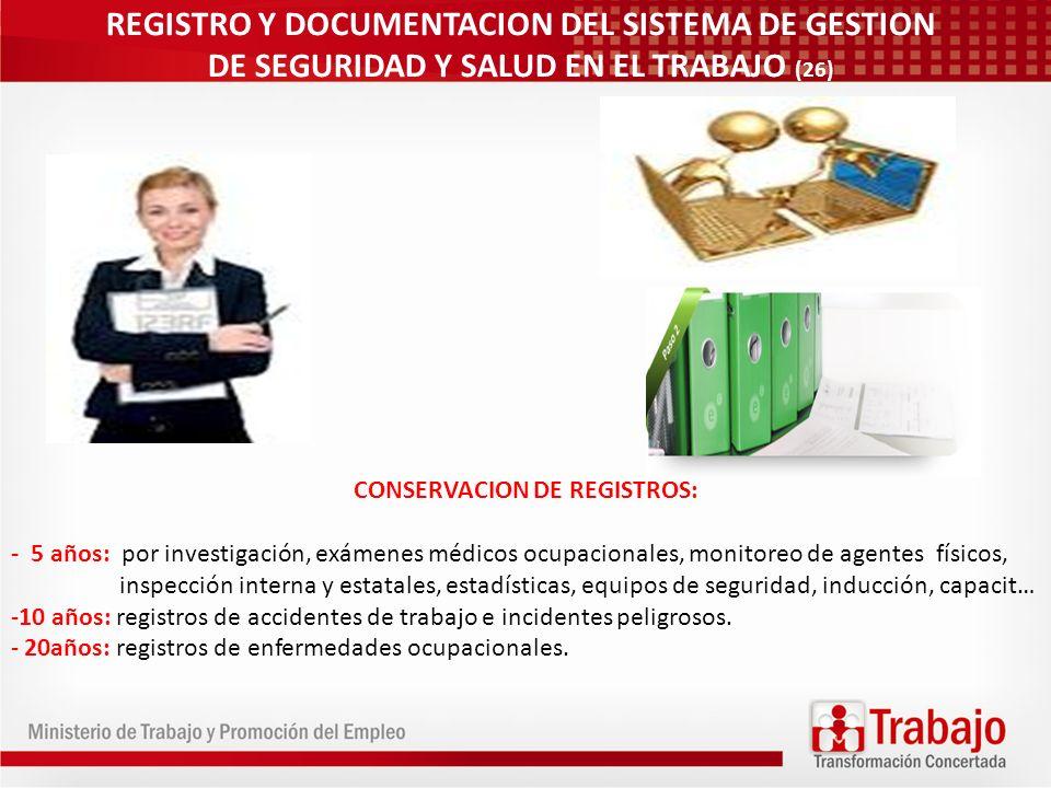 CONSERVACION DE REGISTROS: