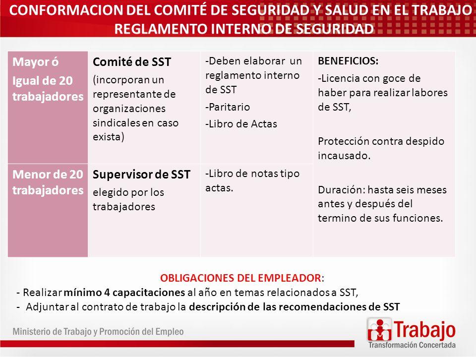CONFORMACION DEL COMITÉ DE SEGURIDAD Y SALUD EN EL TRABAJO