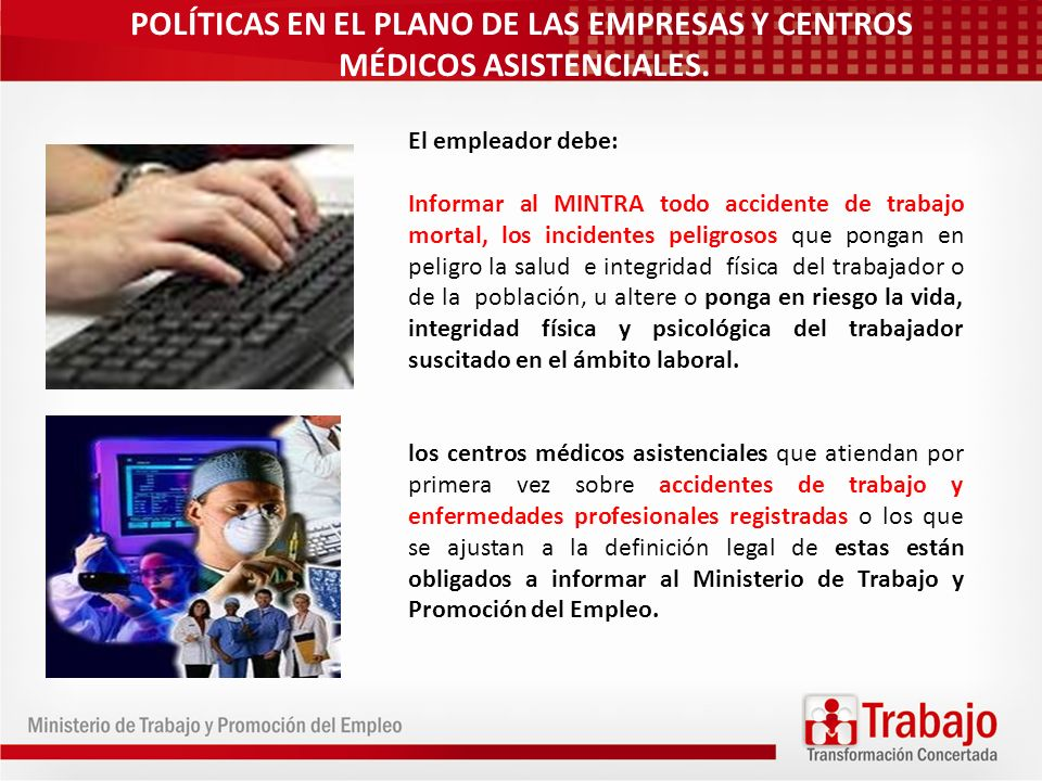 POLÍTICAS EN EL PLANO DE LAS EMPRESAS Y CENTROS MÉDICOS ASISTENCIALES.