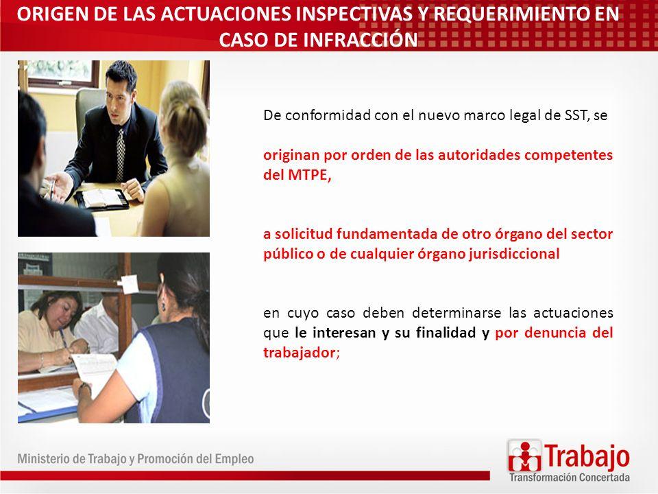 ORIGEN DE LAS ACTUACIONES INSPECTIVAS Y REQUERIMIENTO EN CASO DE INFRACCIÓN