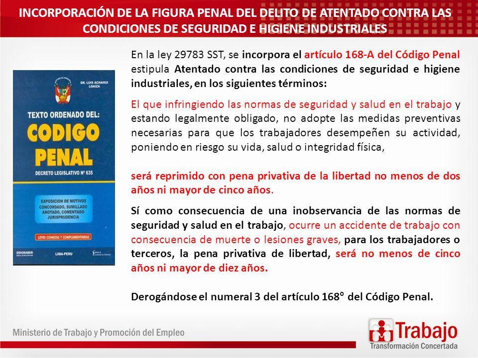 INCORPORACIÓN DE LA FIGURA PENAL DEL DELITO DE ATENTADO CONTRA LAS CONDICIONES DE SEGURIDAD E HIGIENE INDUSTRIALES