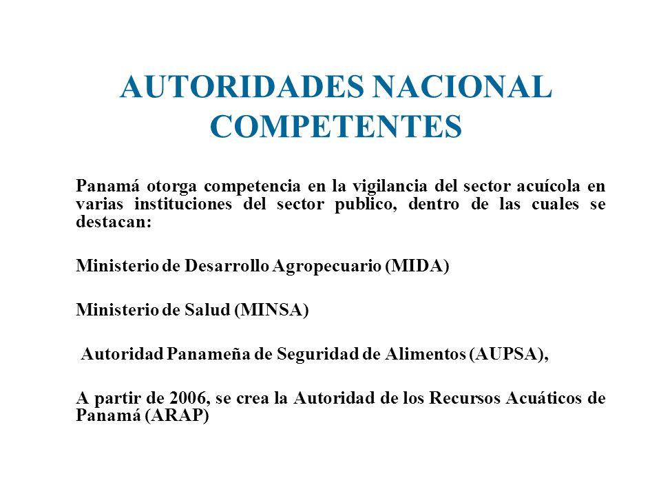 AUTORIDADES NACIONAL COMPETENTES