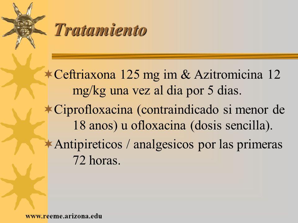 Tratamiento Ceftriaxona 125 mg im & Azitromicina 12 mg/kg una vez al dia por 5 dias.