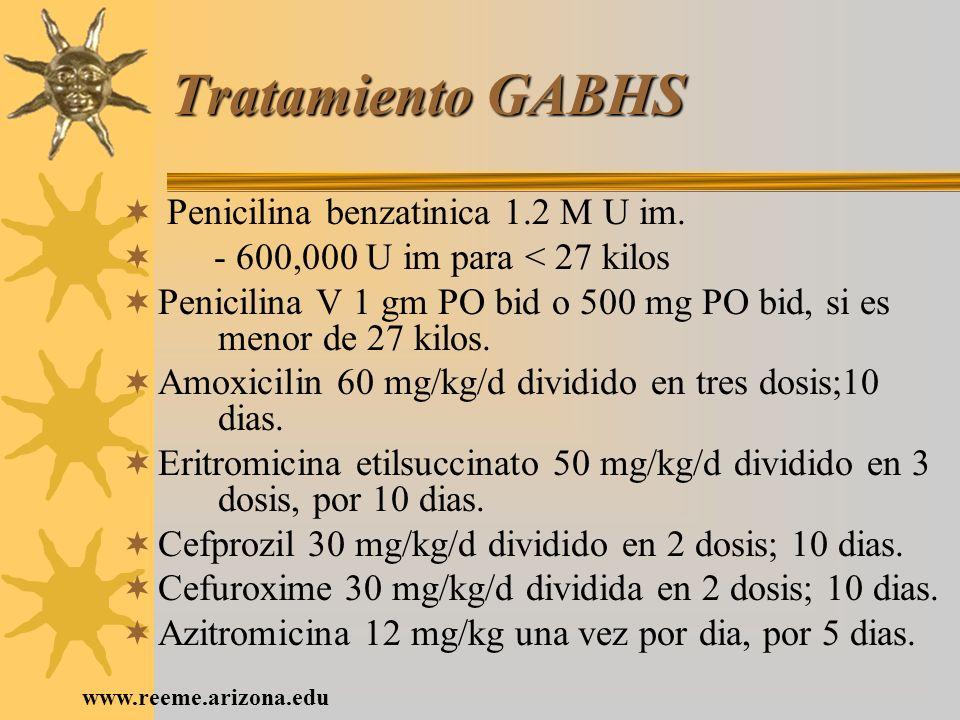 Tratamiento GABHS Penicilina benzatinica 1.2 M U im.