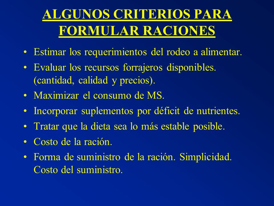 ALGUNOS CRITERIOS PARA FORMULAR RACIONES