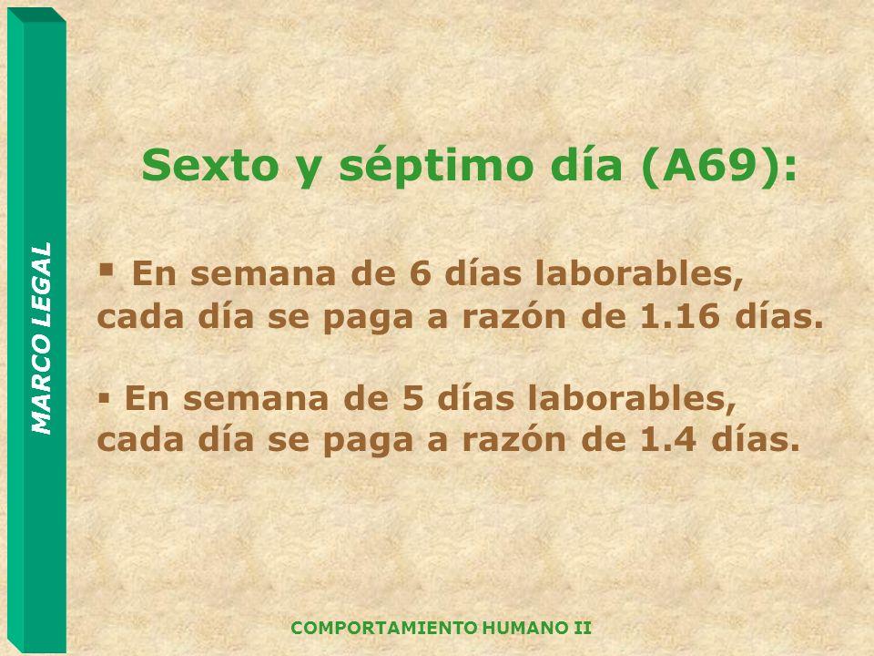 Sexto y séptimo día (A69): COMPORTAMIENTO HUMANO II