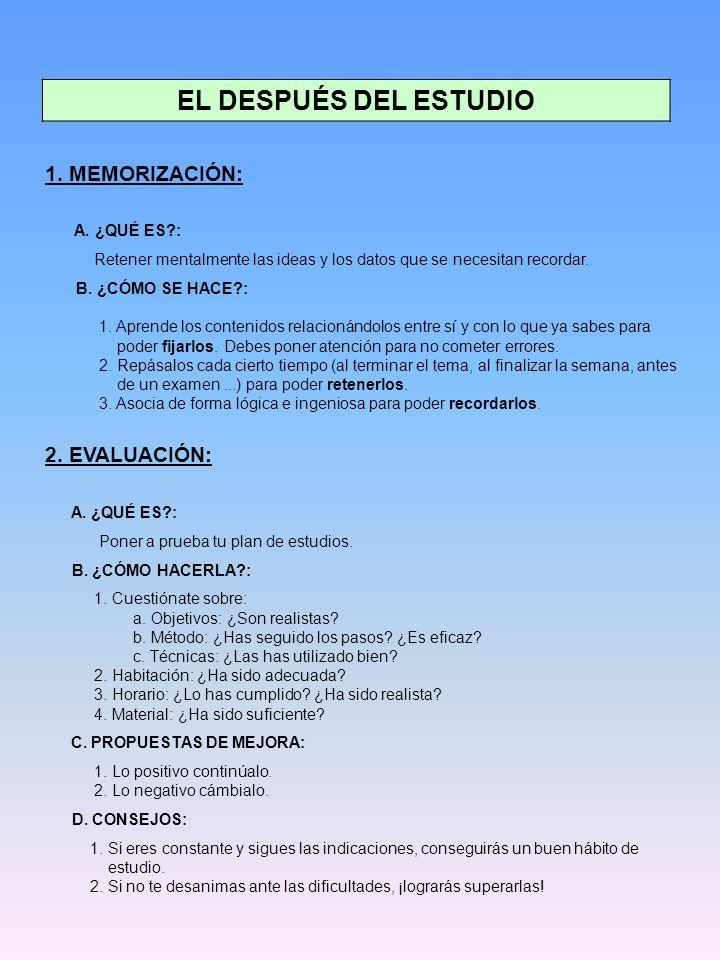 EL DESPUÉS DEL ESTUDIO 1. MEMORIZACIÓN: 2. EVALUACIÓN: