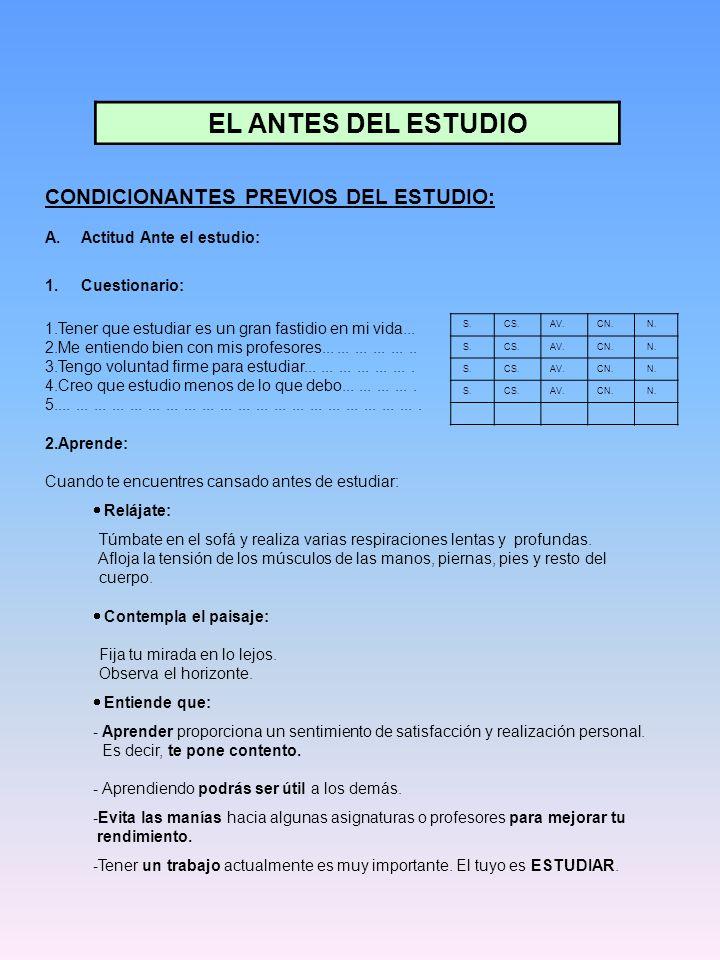 EL ANTES DEL ESTUDIO CONDICIONANTES PREVIOS DEL ESTUDIO:
