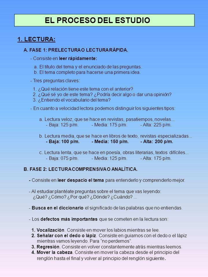 EL PROCESO DEL ESTUDIO 1. LECTURA: - Consiste en leer rápidamente: