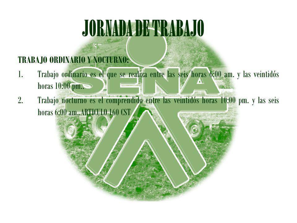 JORNADA DE TRABAJO TRABAJO ORDINARIO Y NOCTURNO: