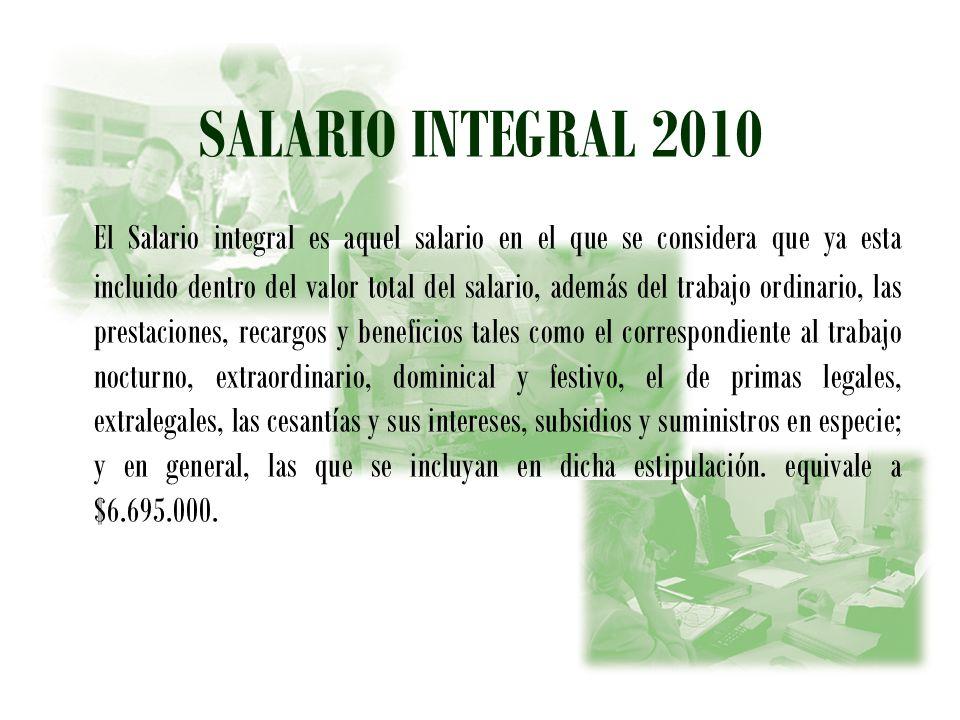 SALARIO INTEGRAL 2010
