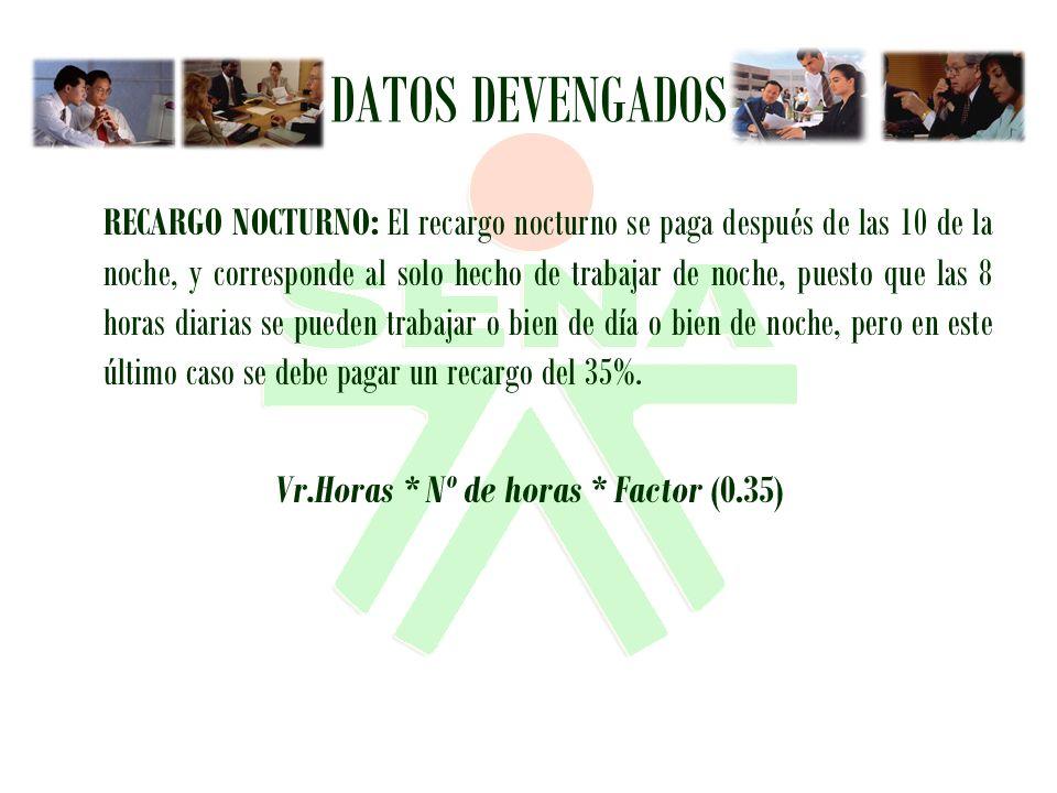 Vr.Horas * Nº de horas * Factor (0.35)
