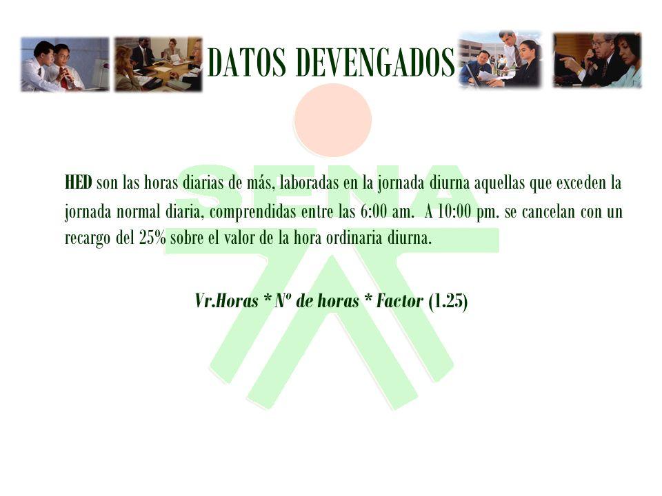 Vr.Horas * Nº de horas * Factor (1.25)
