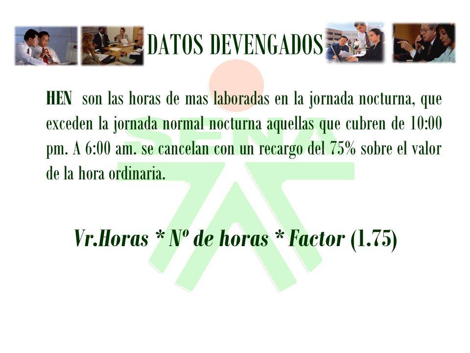 Vr.Horas * Nº de horas * Factor (1.75)