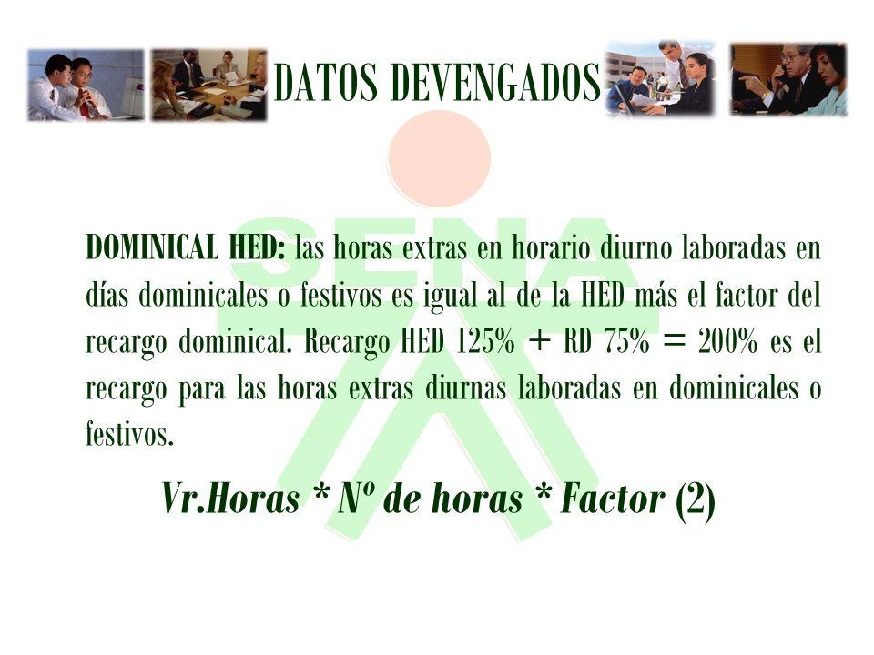 Vr.Horas * Nº de horas * Factor (2)
